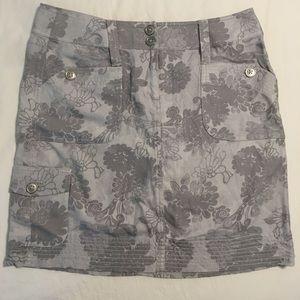 White House Black Market Grey Floral Mini Skirt